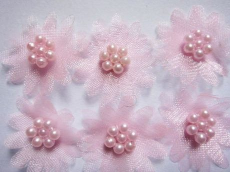 10 X PINK ORGANZA DAISY BEADED FLOWER EMBELLISHMENTS HEADBANDS HAIR BOWS APPLIQUES